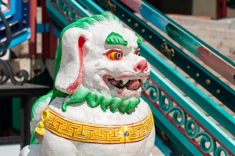 Buddhist figure of a snow lion in Ivolginsky datsan. royalty free stock images