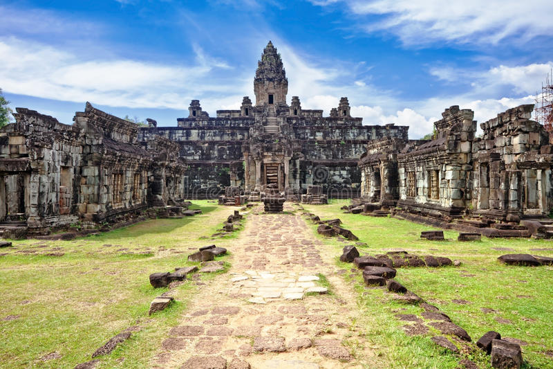 Buddhist khmer temple in Angkor Wat complex stock images