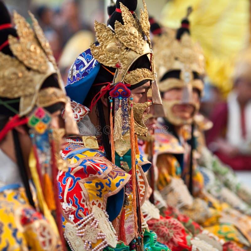 Buddhist lama during puja ceremony royalty free stock photos