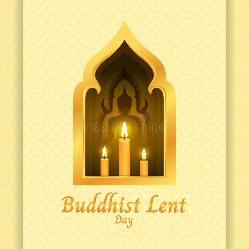 Buddhist lent day banner with yellow candle light and Buddha sign in gold window on soft yellow texture background vector design vector illustration