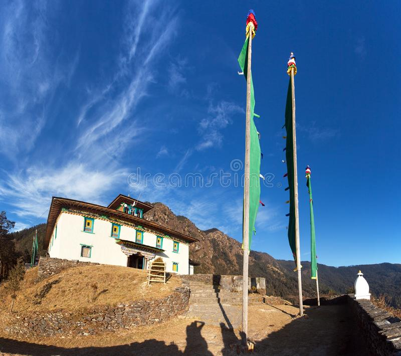 Monastery gompa or gumba in Chiwang village stock photos
