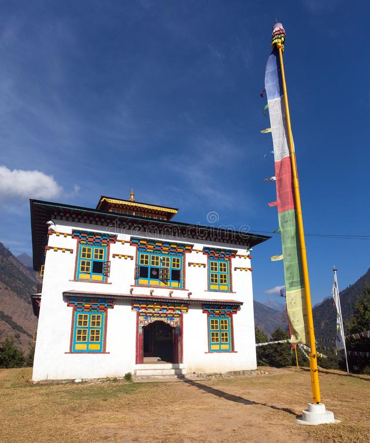 Buddhist monastery or gompa in Kharikhola village stock image