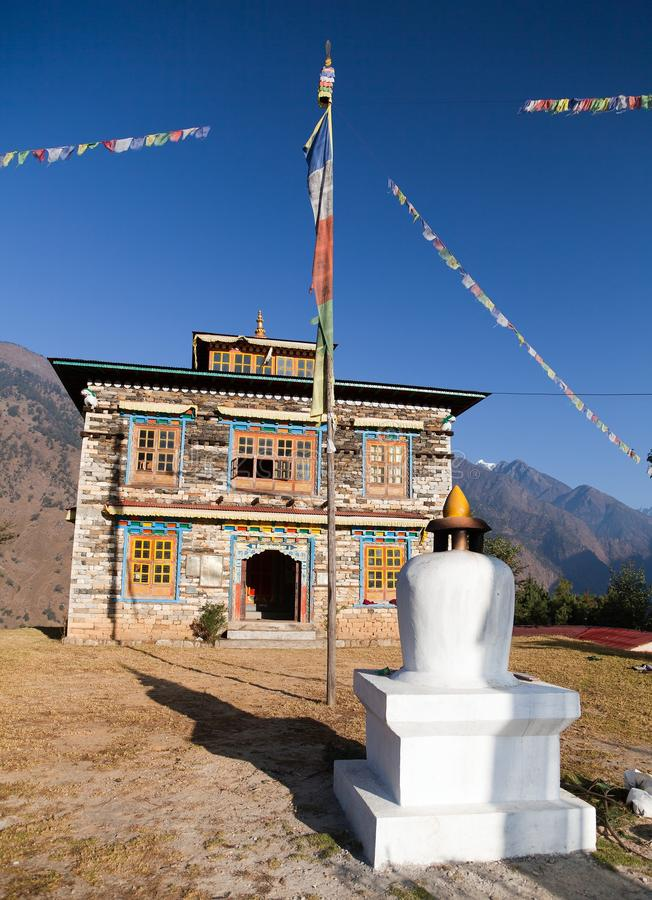 Buddhist monastery or gompa in Kharikhola village stock photos