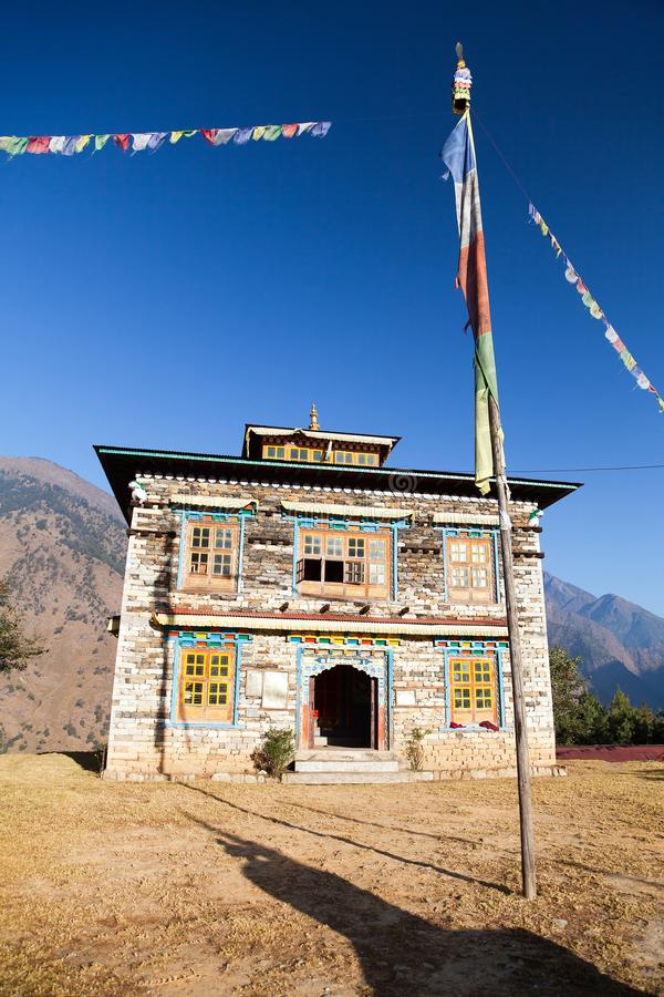 Buddhist monastery or gompa in Kharikhola village stock photography