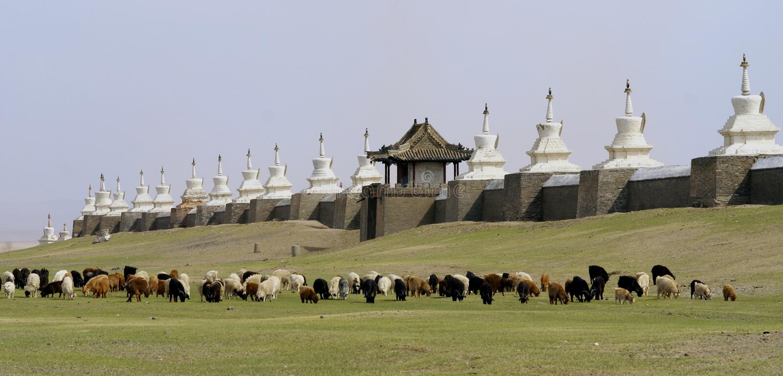 Buddhist monastery in mongolia stock photo