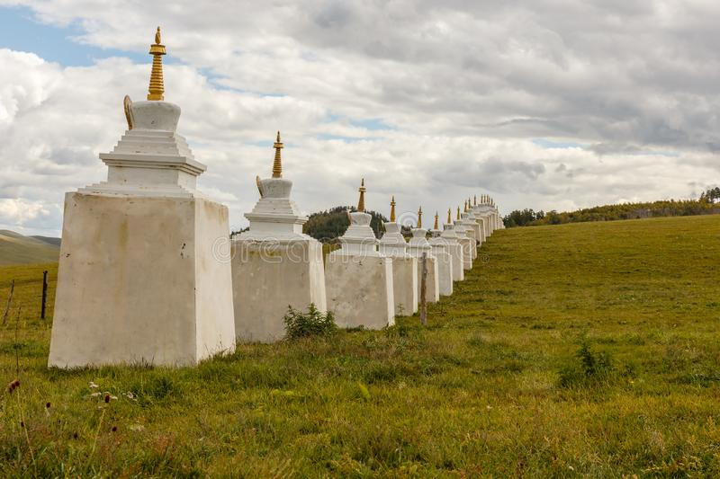 Buddhist monastery in the steppes of Mongolia royalty free stock images