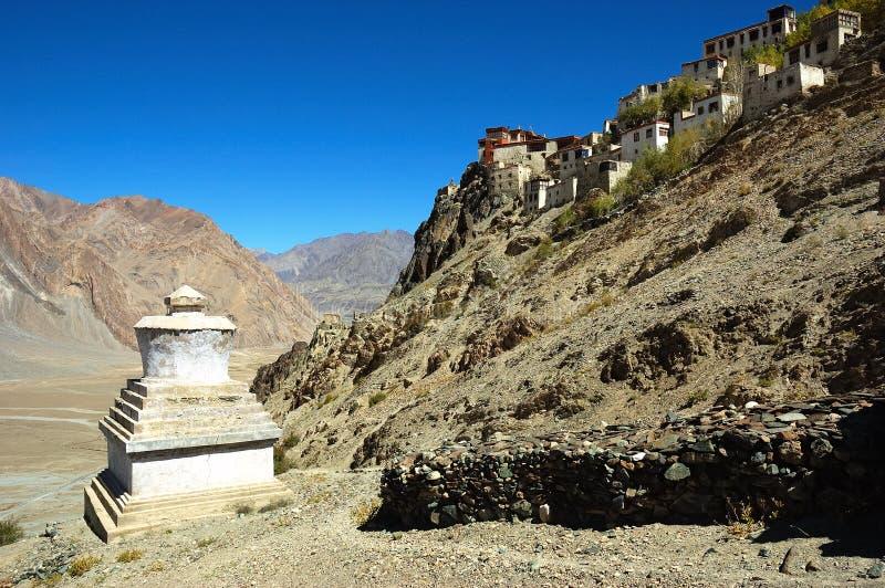 Buddhist monastry and stupa stock photos
