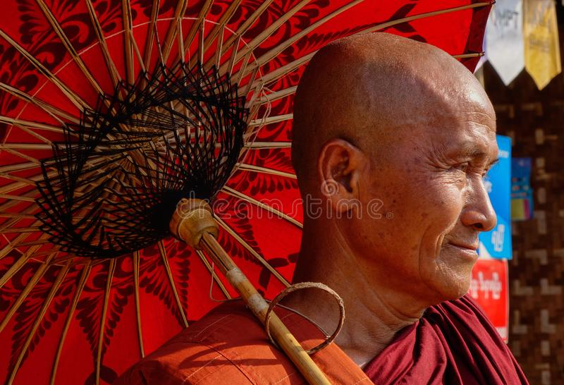 Buddhist monk in Bagan, Myanmar stock photography
