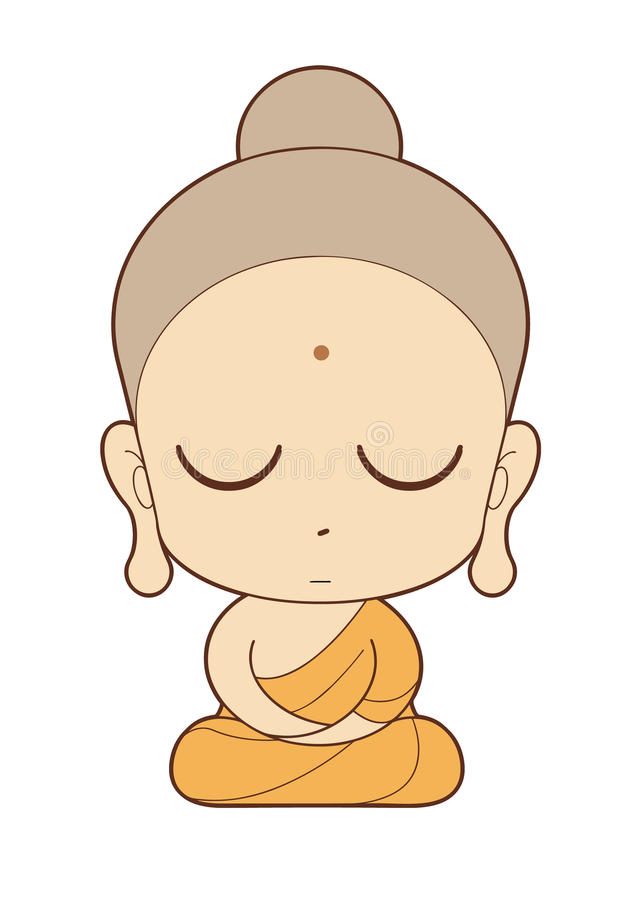 Buddhist Monk cartoon stock illustration