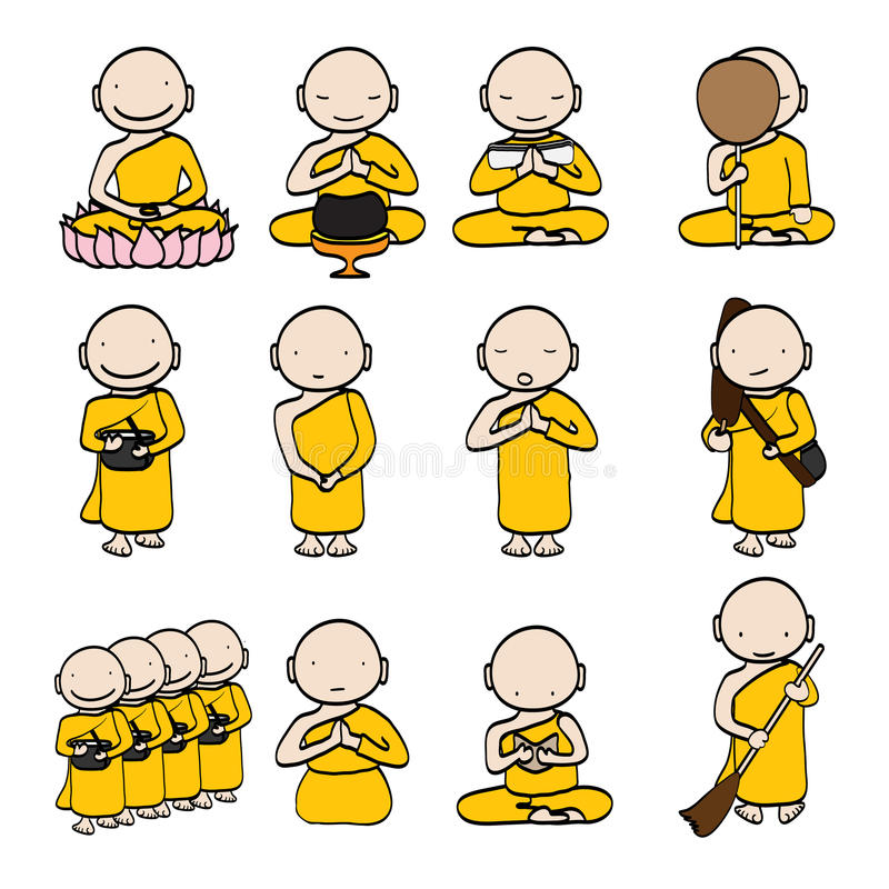 Free Buddhist Monk Cartoon Stock Image - 36515561