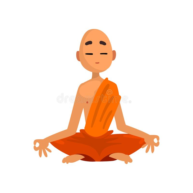 Buddhist monk cartoon character meditating in orange robe vector Illustration on a white background. Buddhist monk cartoon character meditating in orange robe vector illustration