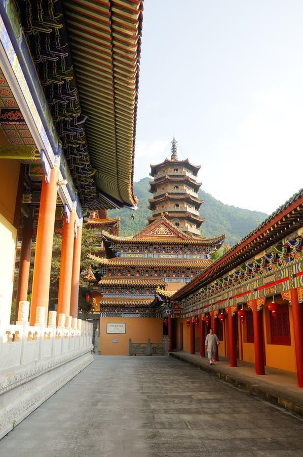 Buddhist Monk at Chan Yuan Temple China royalty free stock photo