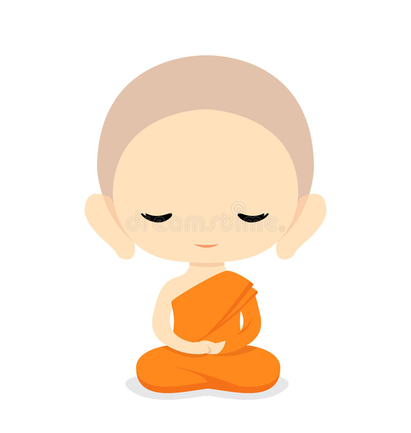 Buddhist Monk Character Design royalty free illustration