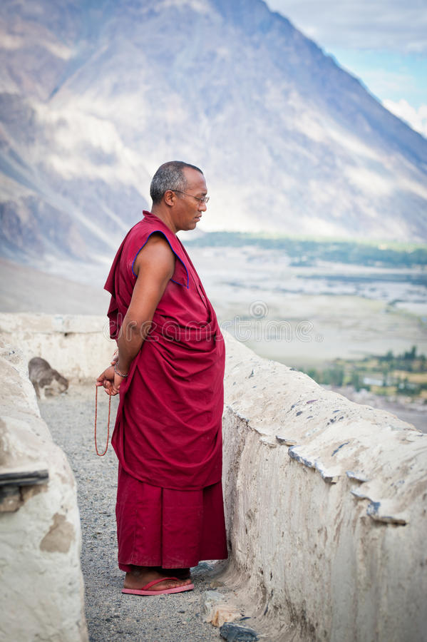 Buddhist monk from Diskit monastery. India royalty free stock photos