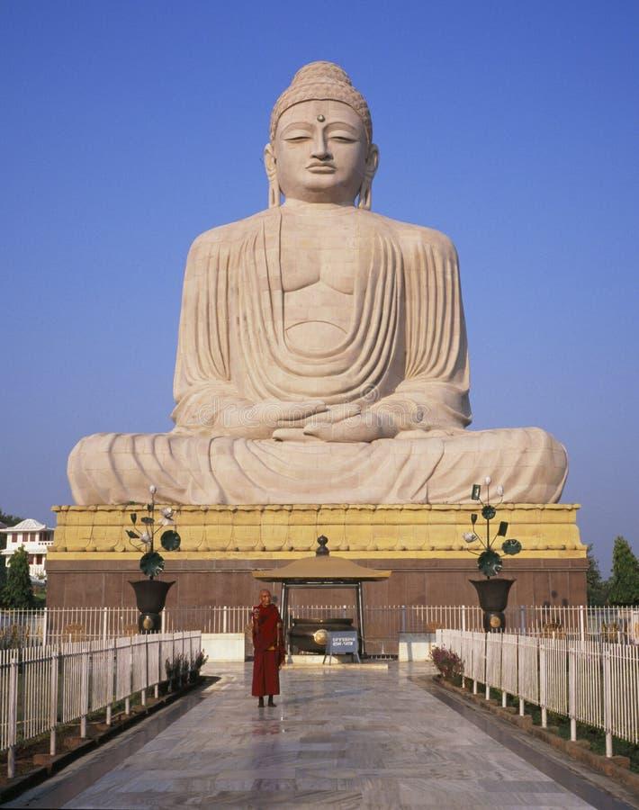 Bodhgaya, India, Buddhist Monk and 80 foot Buddha Statue stock images