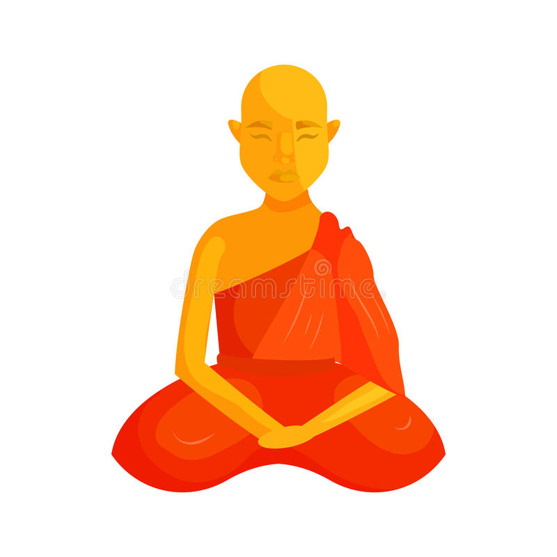 Buddhist Monk Icon Cartoon Style Stock Vector Illustration Of