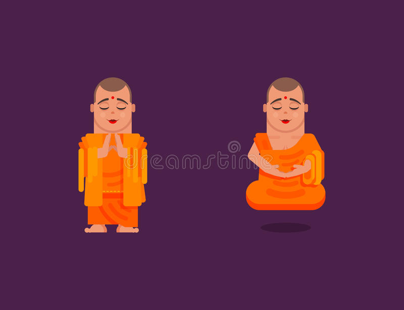 Download Buddhist Monk Is Meditating In A Flat Style Stock Vector