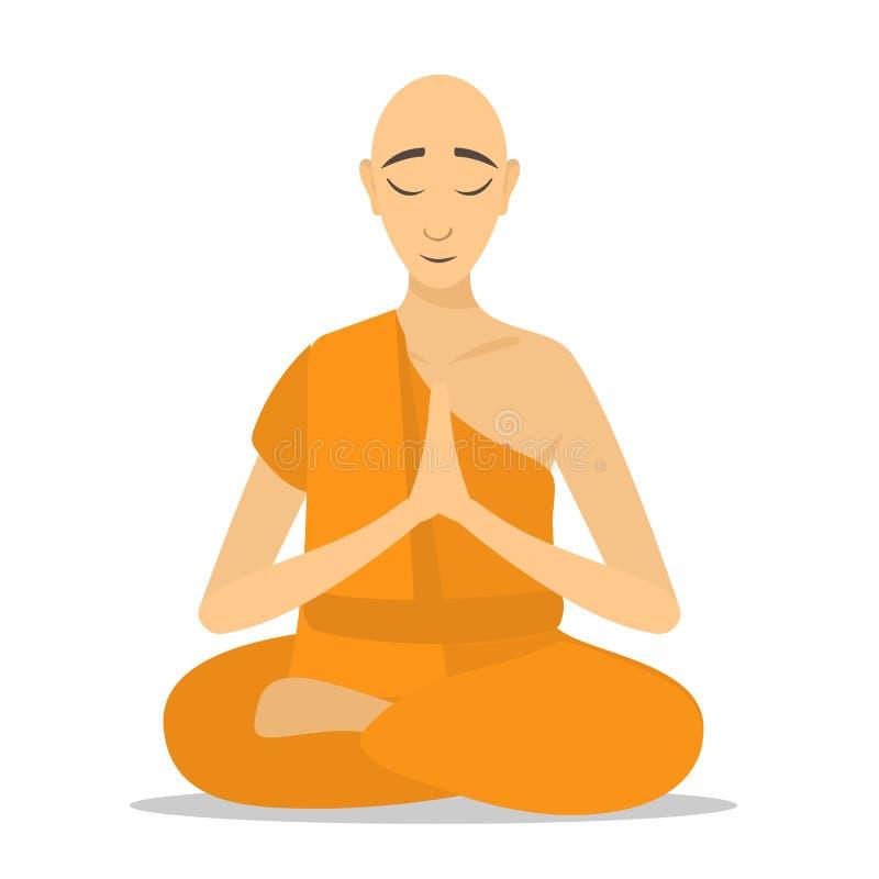 Buddhist monk meditating isolated. stock image