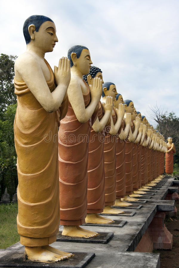 Buddhist Monk Statues Royalty Free Stock Photography
