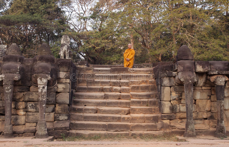 Download Buddhist Monk At The Terrace Of The Elephants Editorial Photography - Image: 23506292