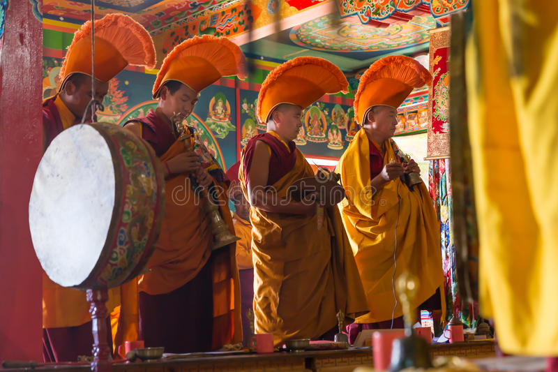 Buddhist monks ceremony prayers in monastery. stock images