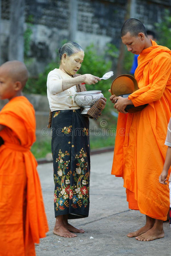 Free Buddhist Monks Collecting Alms Stock Photography - 14288442