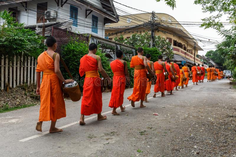 Buddhist monks in Luang Prabang, Laos stock photo