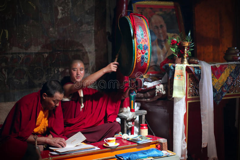 Buddhist monks in monastery stock image