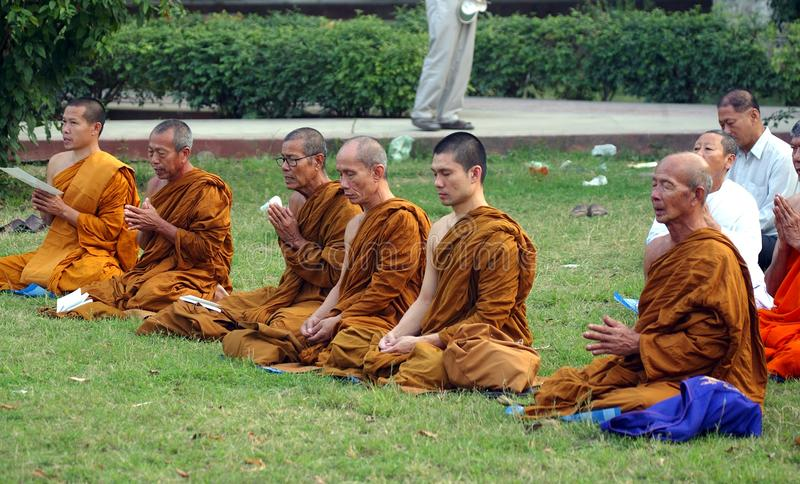 Buddhist monks at Sarnath royalty free stock photo