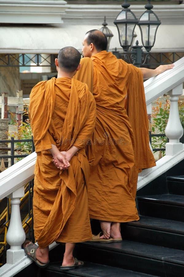 Buddhist Monks & Songkran festival in Bangkok stock images