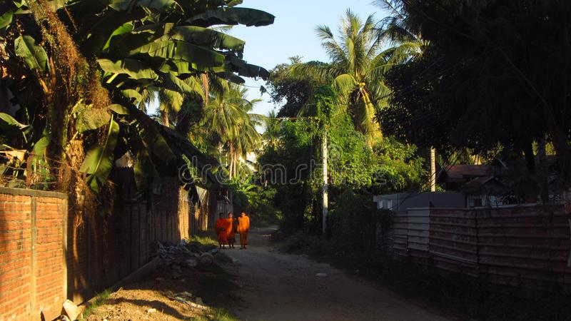 Buddhist Monks in Village royalty free stock photo