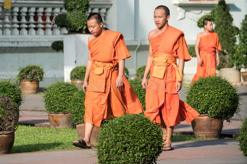 Buddhist Monks at Wat Prasing, Chiang Mai, Thailand. CHIANG MAI, THAILAND - OCTOBER 15 2016: Young buddhist monks mourn the death of their King - Bhumibol stock photography