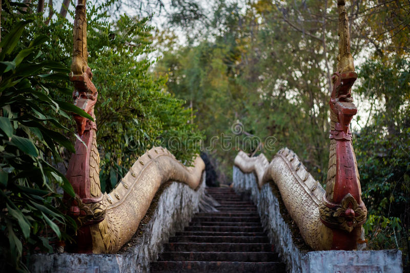 Buddhist Mount Phou Si temple royalty free stock photo