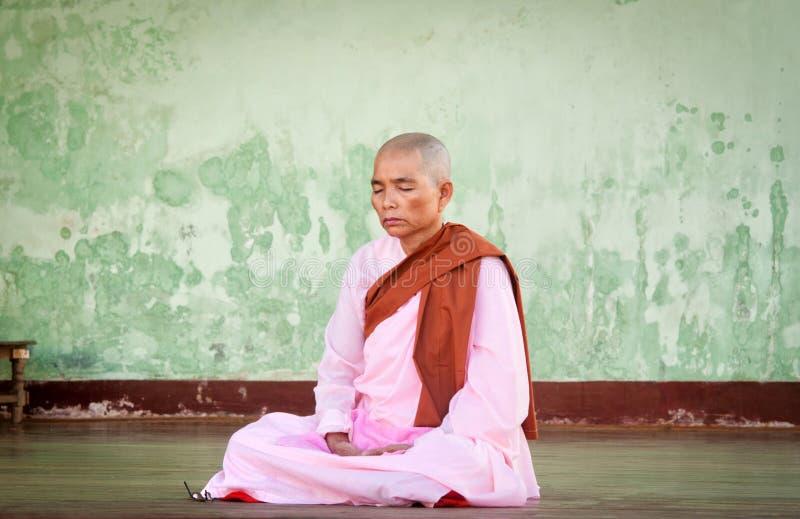 Buddhist nun stock image