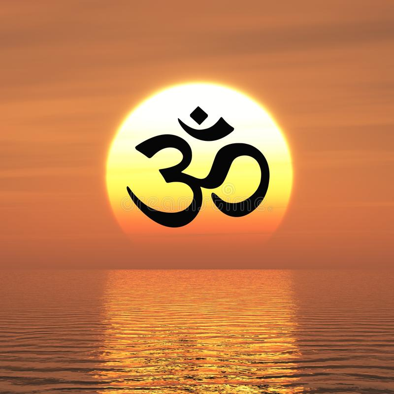 Buddhist om sign at sunset. Illustration of Buddhist om or aum enlightenment sign in front of colorful ocean sunset vector illustration
