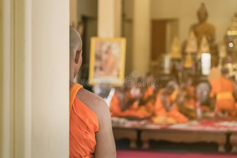 Buddhist ordination ceremony in the church of Buddhist temple. In Thailand royalty free stock image