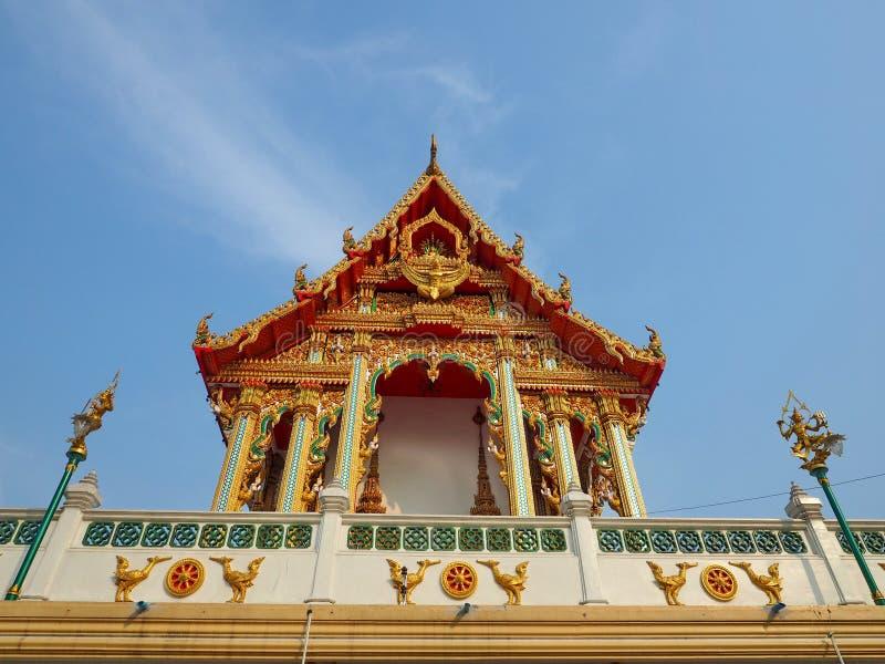 Buddhist Ordination Hall soaring into blue sky royalty free stock photography