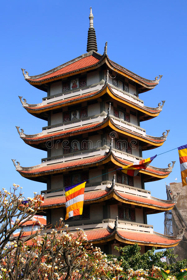 Buddhist pagoda Vinh Nghiem in Ho Chi Minh City (Saigon), Vietnam royalty free stock image