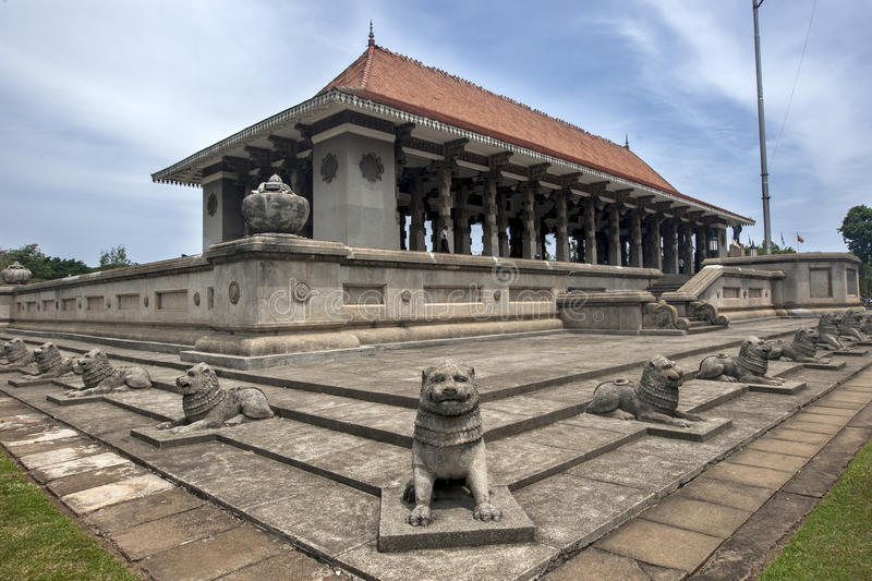 A Buddhist pagola with a ring of lion statues in Colombo, Sri Lanka. royalty free stock images