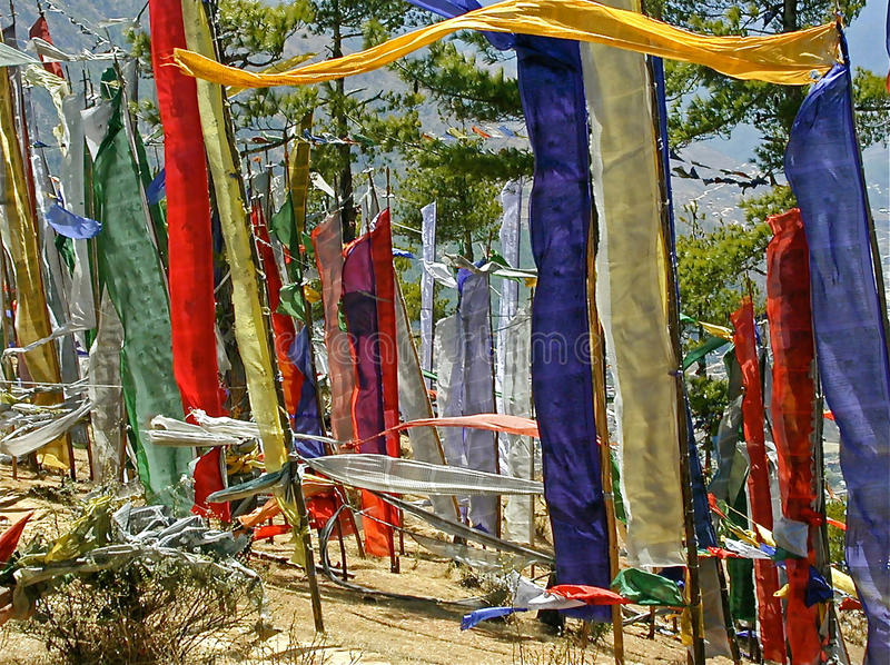 Buddhist Prayer flags. On a pass in Bhutan. The flags carry the prayers into all corners of the world stock images