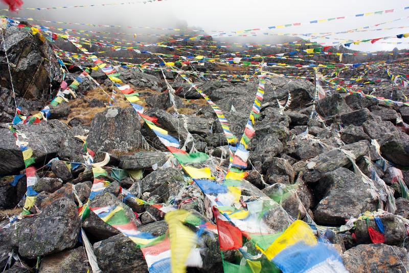Buddhist prayer flags. In Nepal royalty free stock photo