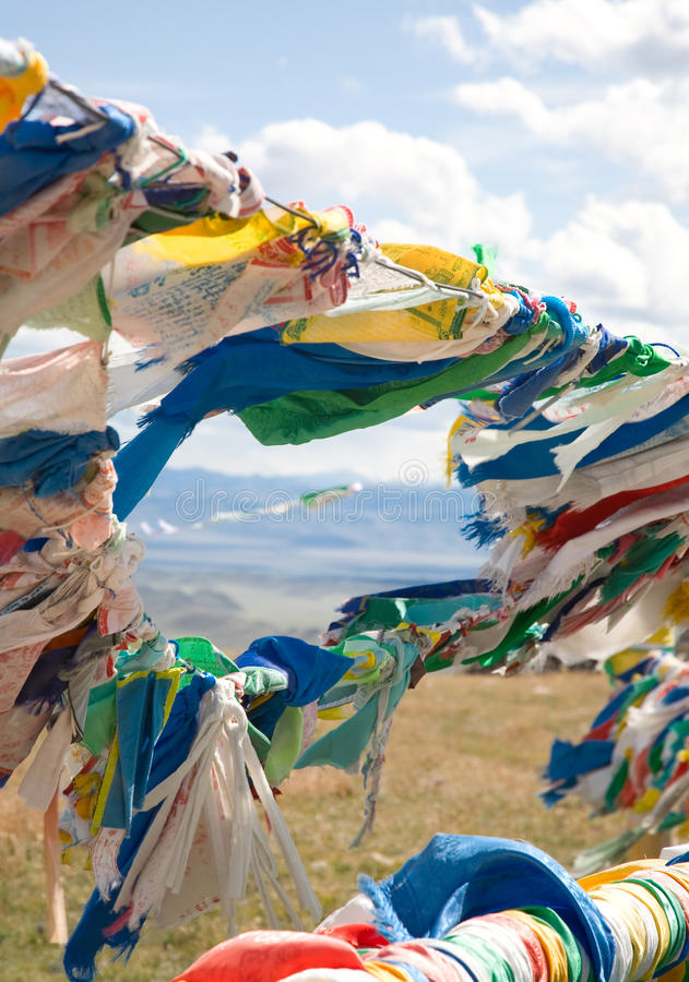 Download Buddhist Prayer Flags On Mountain Pass Royalty Free Stock Image - Image: 11977566