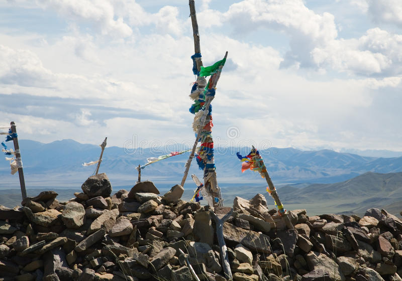 Buddhist prayer flags on mountain pass royalty free stock images