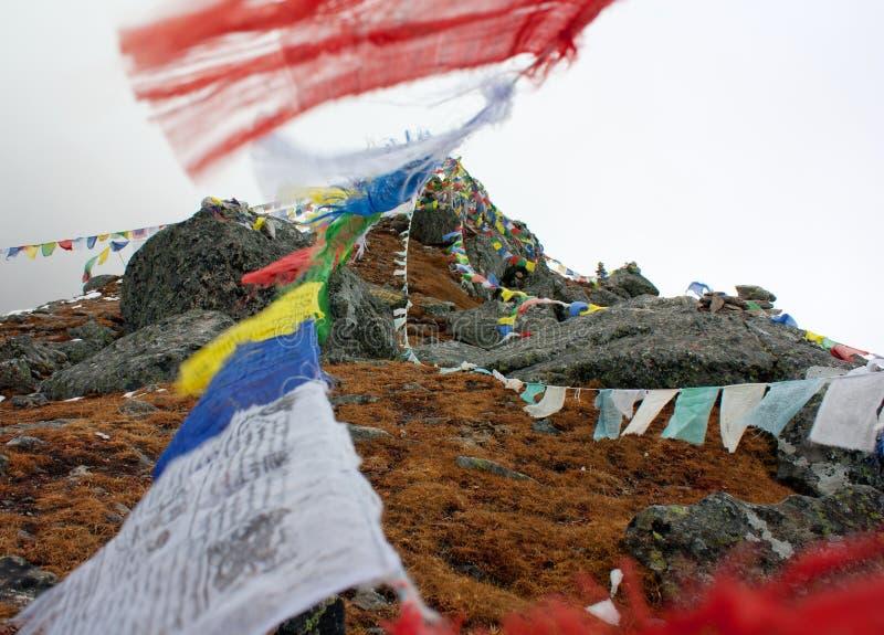 Buddhist prayer flags in Nepal. Beautiful buddhist prayer flags in Nepal stock image
