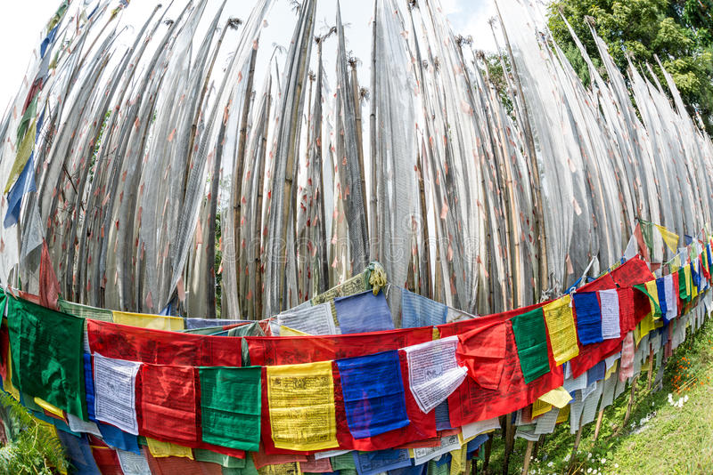 Buddhist prayer flags shot by fisheye stock images