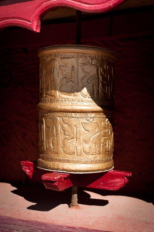 Buddhist Prayer wheel at Tibetan monastery stock photos