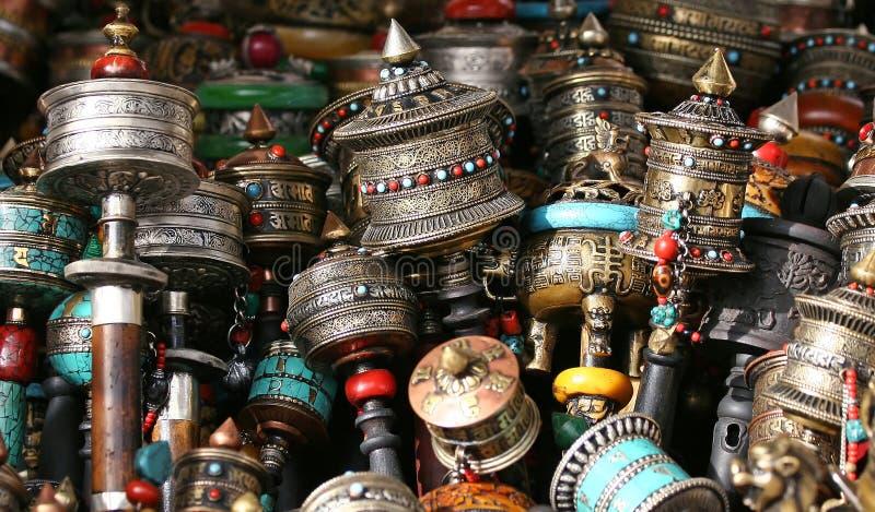 Buddhist prayer wheels stock images