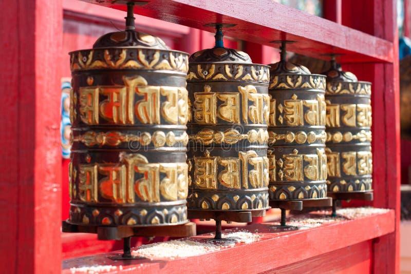 Buddhist prayer wheels in Ivolginsky datsan. stock photo