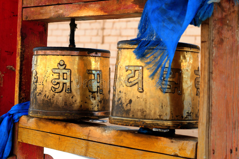 Buddhist prayer wheels Mongolia royalty free stock image