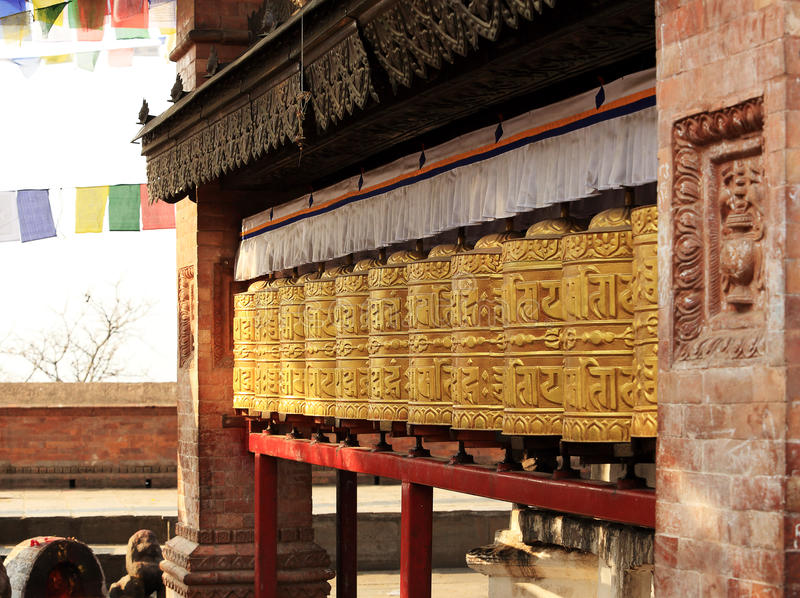 Buddhist prayer wheels. Swayambhunath Stupa, Kathmandu, Nepal royalty free stock images
